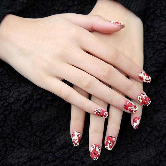 红色梅花美甲图片小清新