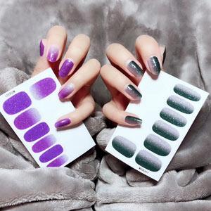 紫色渐变美甲贴批发_紫色渐变美甲图片