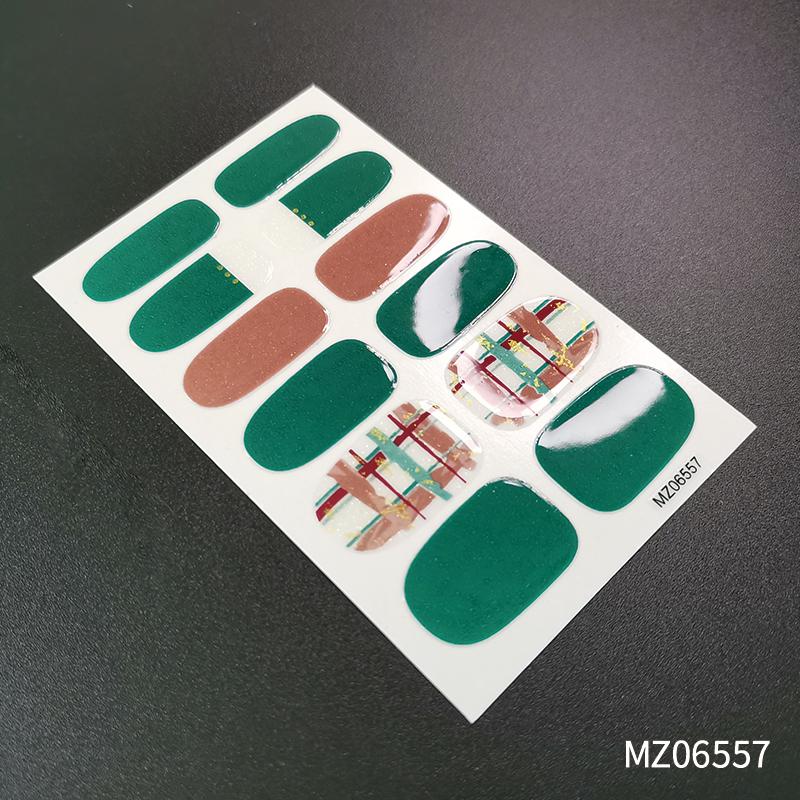 小香风系列指甲贴纸 网格爱心美甲贴全贴可定制甲油膜