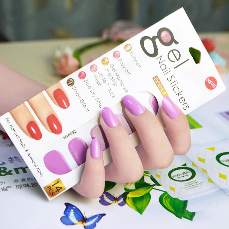 韩国14指凝胶贴 纯色指甲油贴 美甲贴指甲贴纸全贴