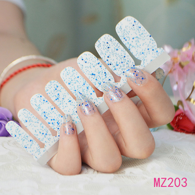 Fashion blue nail polish sticker nail effect pictures