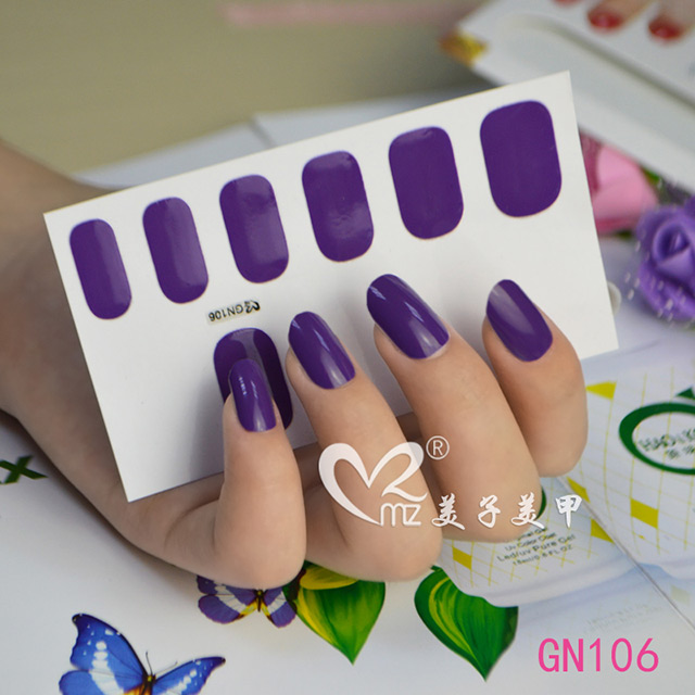 Pure purple Gel nail stickers