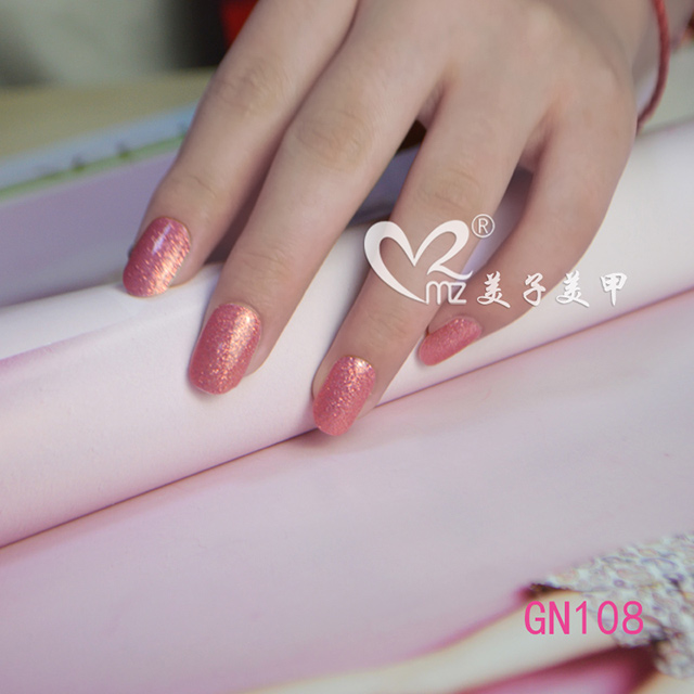 Glitter pink gel nail sticker