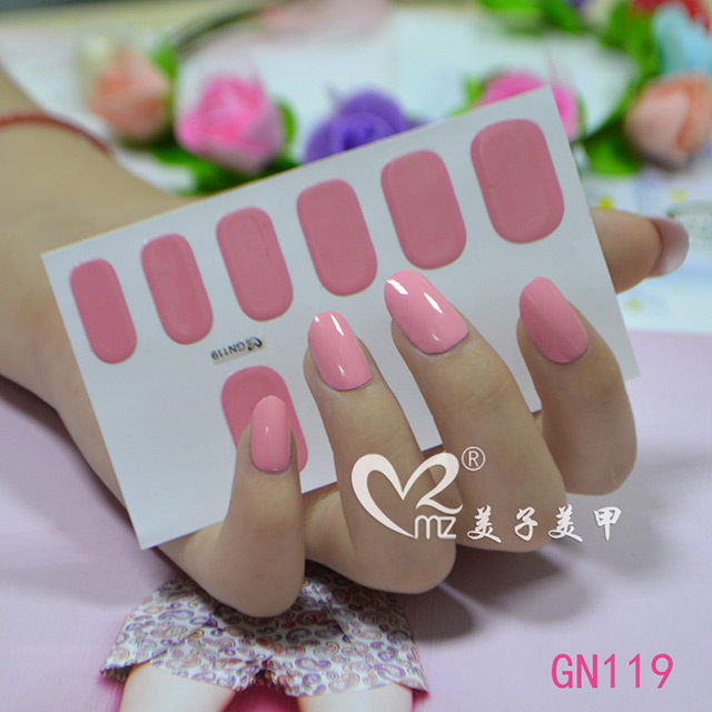 Pure pink gel nail sticker