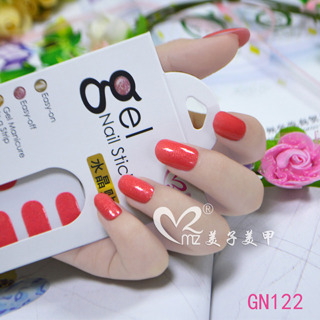 Red glitter gel nail sticker