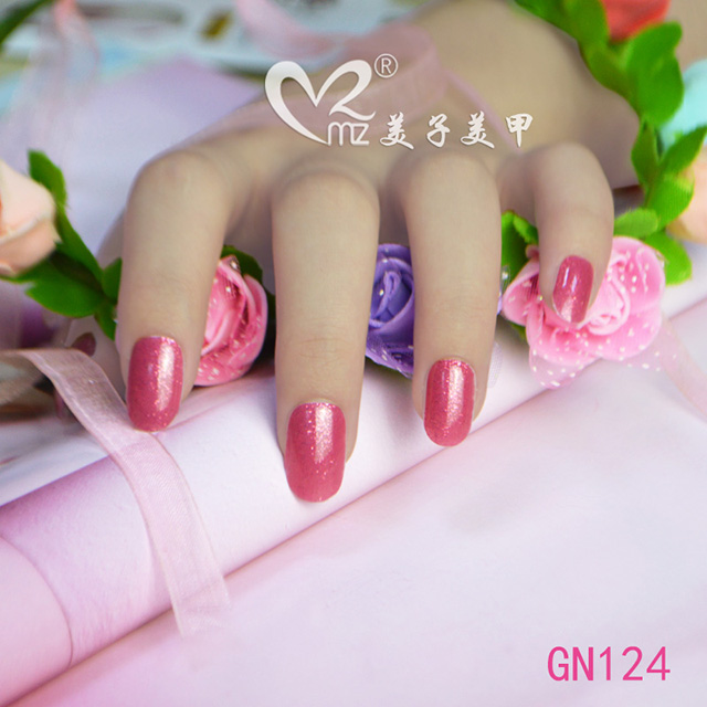 Watermelon color glitter gel nails stickers
