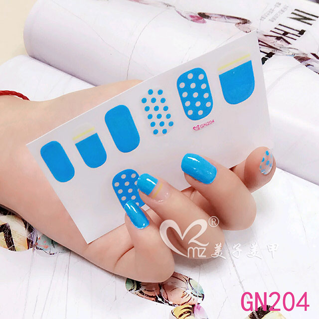 Blue rain gel nail stickers