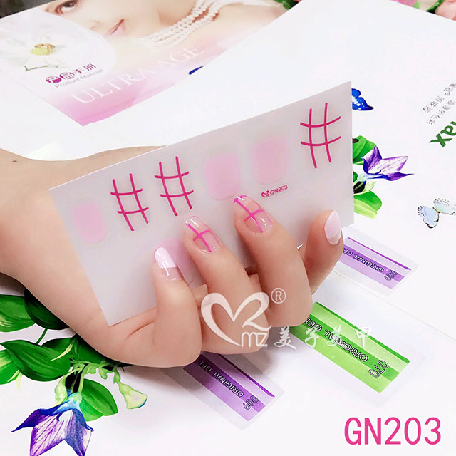 Pink gel nail stickers