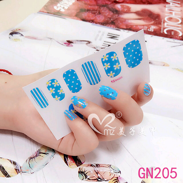 Blue flowers gel nail stickers