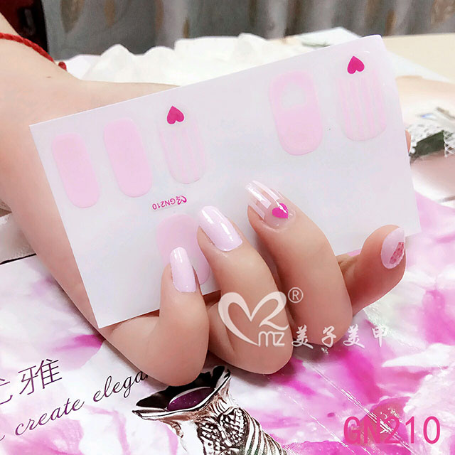 Pink contracted gel nail stickers