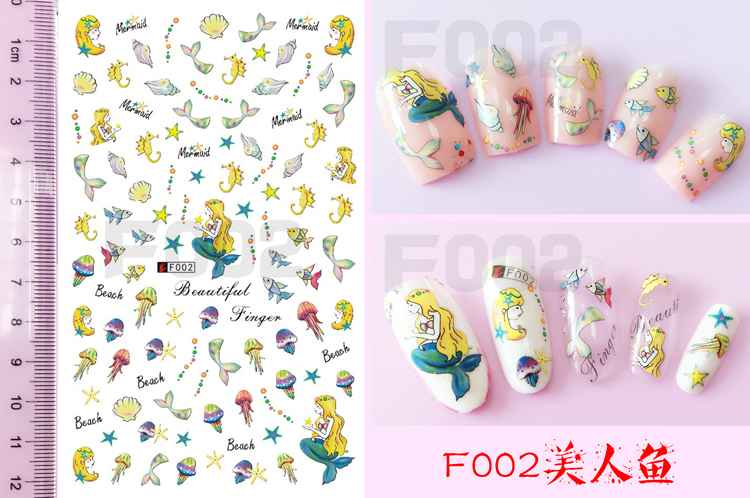Mermaid child nail sticker picture