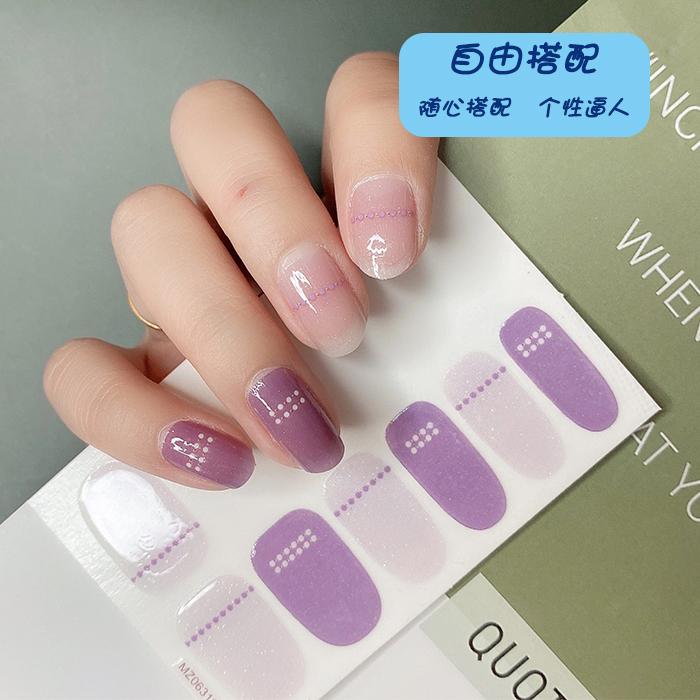 2020新款冻紫指甲贴 穿戴指甲美甲贴片 可拆卸 厂家直销